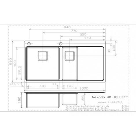 Кухонная мойка Reginox Nevada 40x18 LUX OKG Left/Right 43099/43100 купить в Москве по цене от 86150р. в интернет-магазине mebel-v-vannu.ru
