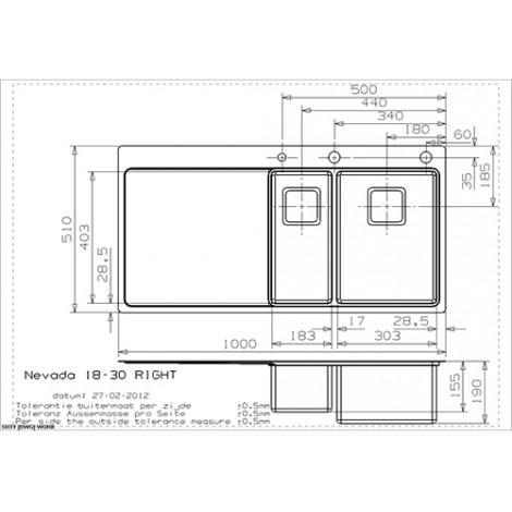Кухонная мойка Reginox Nevada 18x30 1000x510 Left/Rignt купить в Москве по цене от 79000р. в интернет-магазине mebel-v-vannu.ru