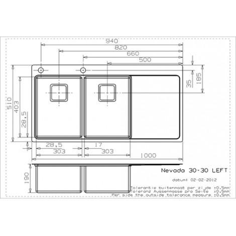 Кухонная мойка Reginox Nevada 30x30 1000x510 Left