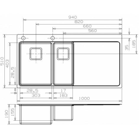Кухонная мойка Reginox Nevada 30x18 1000x510 Left/Rignt купить в Москве по цене от 79000р. в интернет-магазине mebel-v-vannu.ru