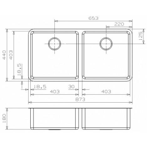 """Кухонная мойка Reginox Ohio 40x40+40x40 LUX 3,5"""" 40222 купить в Москве по цене от 61200р. в интернет-магазине mebel-v-vannu.ru"""