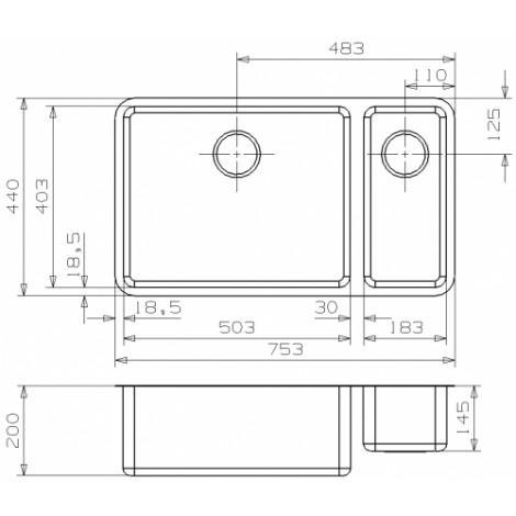 """Кухонная мойка Reginox Ohio 50x40+18x40 LUX 3,5"""" 40330 купить в Москве по цене от 58780р. в интернет-магазине mebel-v-vannu.ru"""