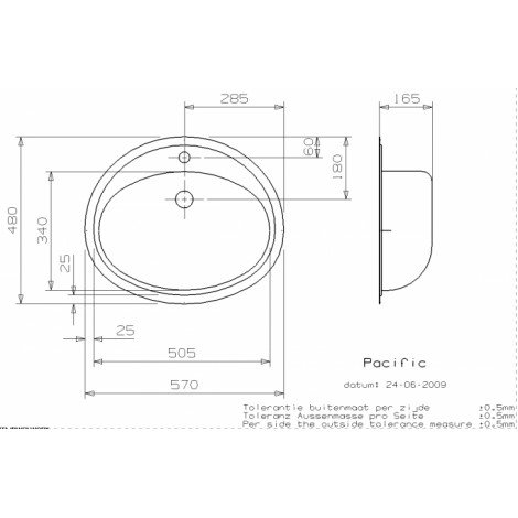 Раковина Reginox Pacific 570x480 Полированная с 2-х сторон