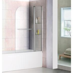 Шторка на ванну RGW Screens SC-08 1000x1500 с ручкой и полками, стекло чистое 03110810-11