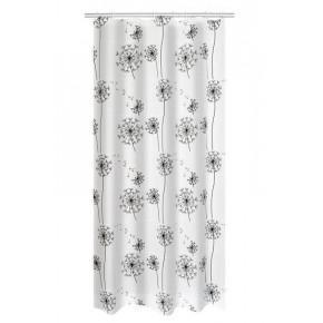 Штора для ванной комнаты Ridder Moonflower белый/черный 180x200 303210