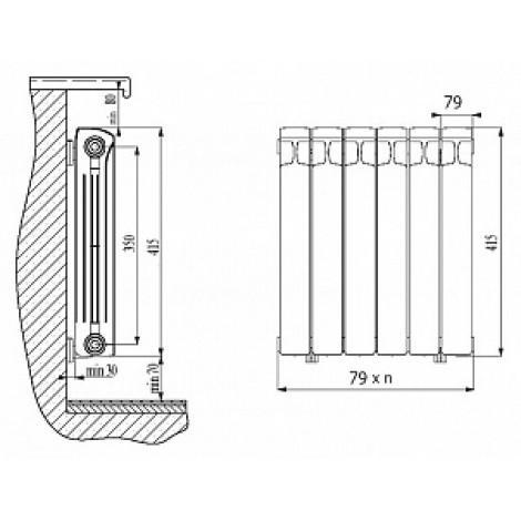 Радиатор водяной биметаллический Rifar Base 350 9 секций купить в Москве по цене от 5960р. в интернет-магазине mebel-v-vannu.ru