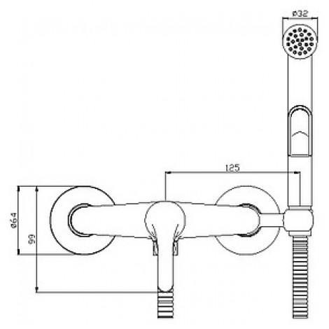 Гигиенический душ Rossinka Y25-52 со смесителем купить в Москве по цене от 2970р. в интернет-магазине mebel-v-vannu.ru