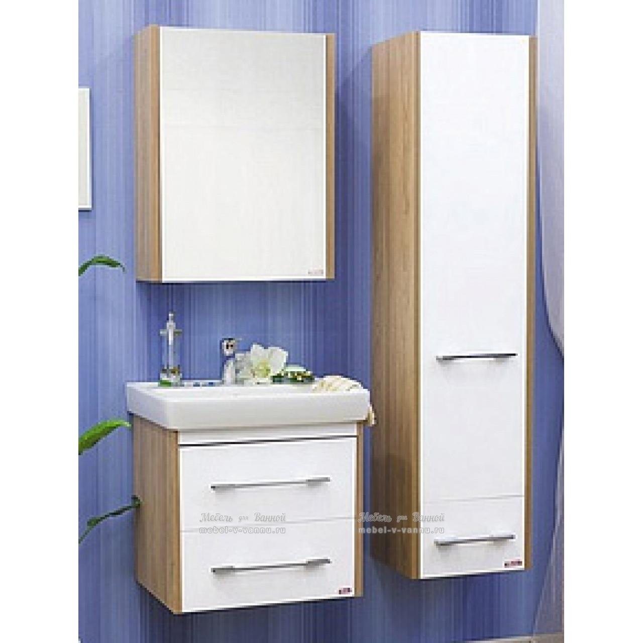 Комплект мебели Sanflor Ларго 60 белый подвесной купить в Москве по цене от 15833р. в интернет-магазине mebel-v-vannu.ru