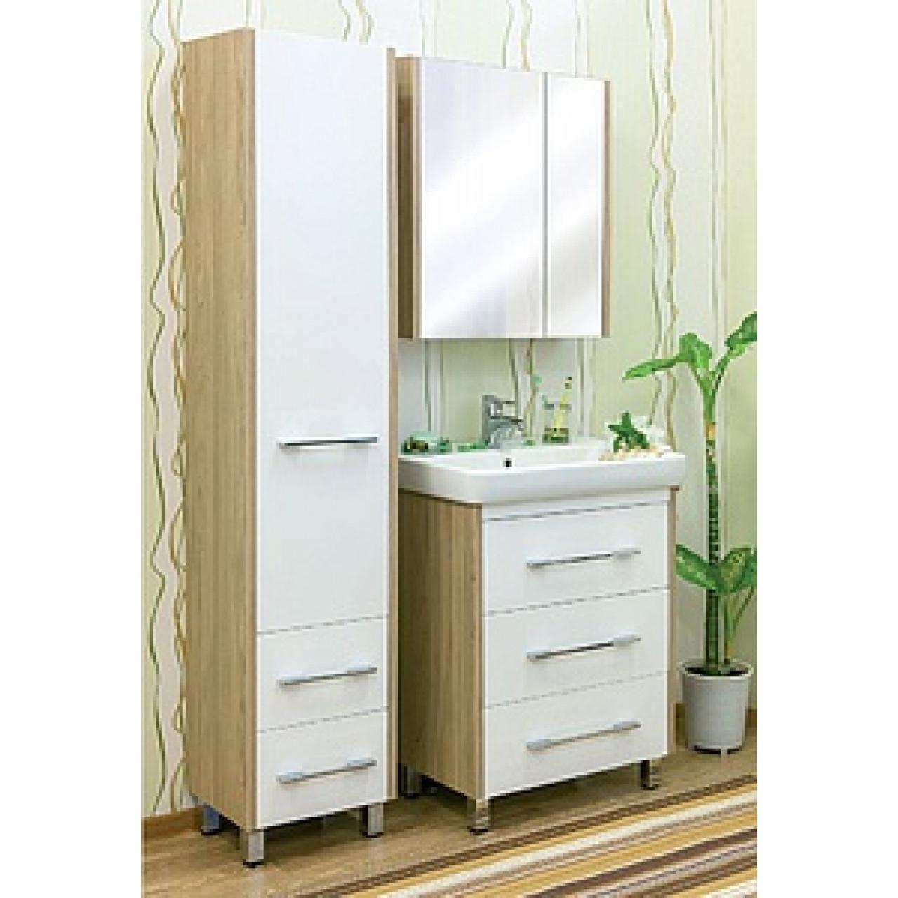 Комплект мебели Sanflor Ларго 70 белый купить в Москве по цене от 17184р. в интернет-магазине mebel-v-vannu.ru