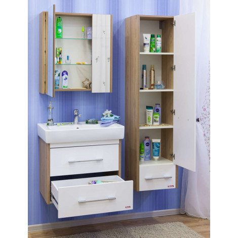 Комплект мебели Sanflor Ларго 70 белый подвесной купить в Москве по цене от 16759р. в интернет-магазине mebel-v-vannu.ru