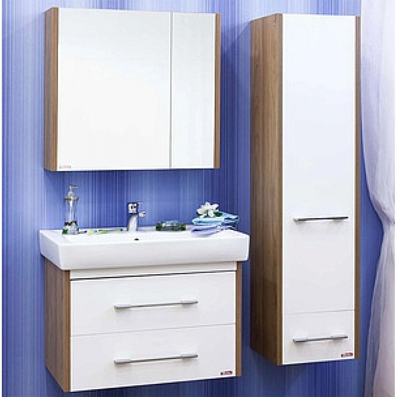 Комплект мебели Sanflor Ларго 80 белый подвесной купить в Москве по цене от 19394р. в интернет-магазине mebel-v-vannu.ru