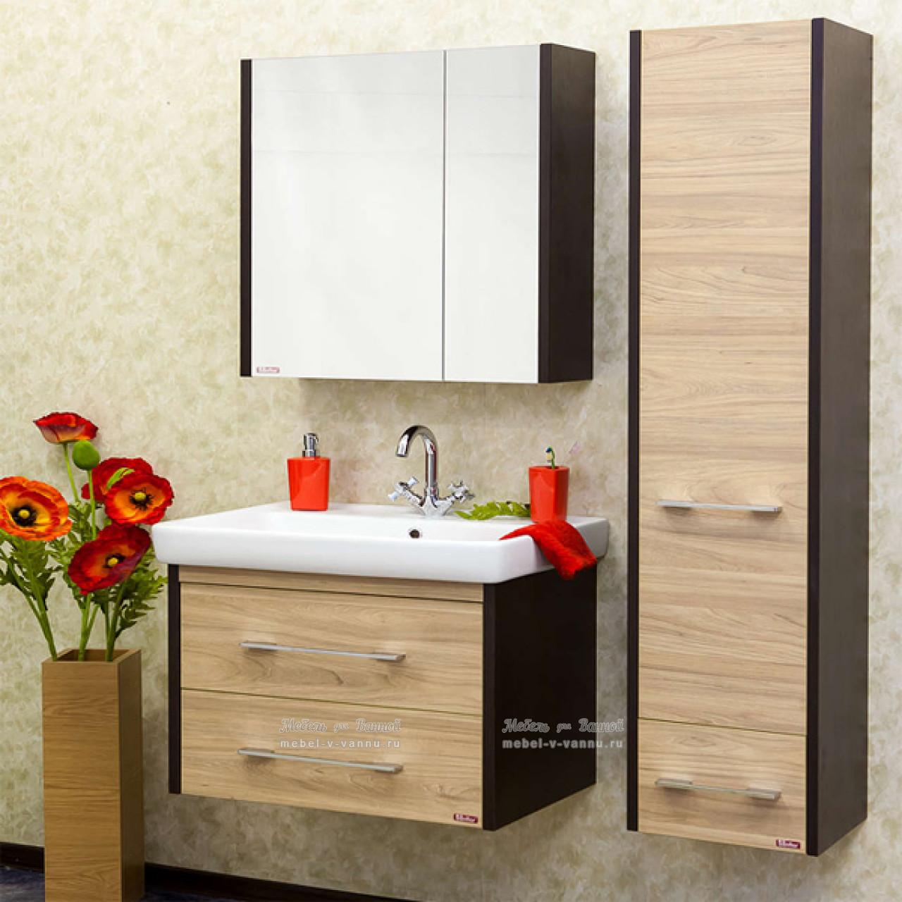 Комплект мебели Sanflor Ларго 80 подвесной купить в Москве по цене от 18200р. в интернет-магазине mebel-v-vannu.ru