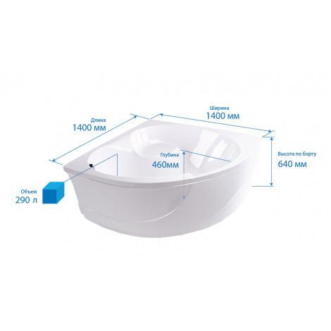 Акриловая ванна Triton Эрика 1400х1400х640 купить в Москве по цене от 19010р. в интернет-магазине mebel-v-vannu.ru