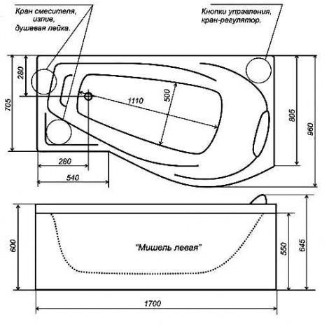 Акриловая ванна Triton Мишель 1700х960х600 Л/П купить в Москве по цене от 17160р. в интернет-магазине mebel-v-vannu.ru