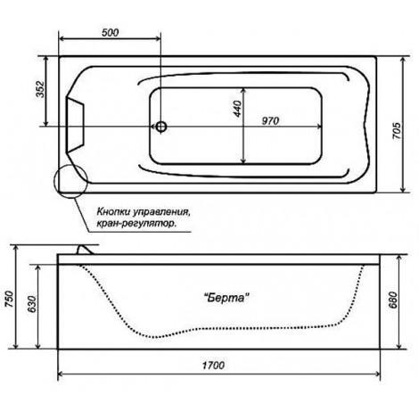 Акриловая ванна Triton Диана 1700х750х655 купить в Москве по цене от 16500р. в интернет-магазине mebel-v-vannu.ru