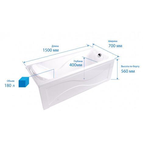 Акриловая ванна Triton Катрин 1700х700х560 купить в Москве по цене от 13460р. в интернет-магазине mebel-v-vannu.ru