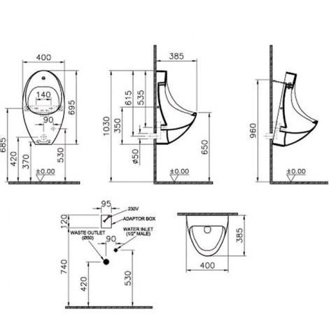 Писсуар VitrA Arkitekt 4106B003-5291 электронный датчик смыва