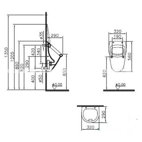 Писсуар VitrA Arkitekt 6201B003-0199 подвесной с внутренним подводом воды купить в Москве по цене от 3537р. в интернет-магазине mebel-v-vannu.ru
