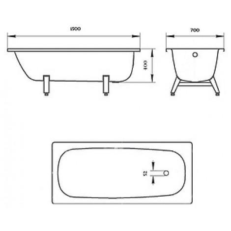 Стальная ванна ВИЗ Donna Vanna 150 см DV-53901 купить в Москве по цене от 7210р. в интернет-магазине mebel-v-vannu.ru
